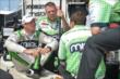 Sebastien Bourdais talks about Practice 2 with his crew. -- Photo by: Chris Owens