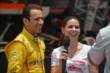 Helio Castroneves is interviewed. -- Photo by: Chris Owens