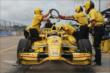 Helio Castroneves on Pit Road. -- Photo by: Joe Skibinski