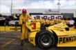 Helio Castroneves celebrates pole position for Race 2. -- Photo by: Chris Jones