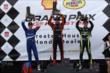 Simon Pagenaud, Mikhail Aleshin and Jack Hawksworth celebrate on the Race 2 Podium. -- Photo by: Chris Jones