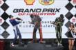 Simon Pagenaud, Mikhail Aleshin, and Jack Hawksworth celebrate on the podium. -- Photo by: Chris Jones