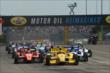 Helio Castroneves leads the field at the start of Race 2. -- Photo by: Chris Owens
