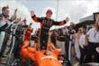 Simon Pagenaud celebrates his victory in Race 2. -- Photo by: Chris Owens