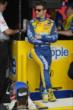 Marco Andretti waits on his pit box for the start of qualifying. -- Photo by: Joe Skibinski