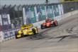 Helio Castroneves leads Simon Pagenaud in Race 2. -- Photo by: Joe Skibinski
