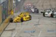 Helio Castroneves makes contact in Race 2. -- Photo by: Joe Skibinski