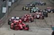 Tony Kanaan leads a large group of cars in Race 2. -- Photo by: Richard Dowdy