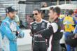 Will Power, Helio Castroneves and James Hinchcliffe talk in pit lane between sessions at IMS -- Photo by: Chris Owens