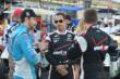 James Hinchcliffe, Helio Castroneves and Will Power talk in pit lane -- Photo by: Chris Owens