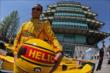 Helio Castroneves in his Pennzoil fire suit that he will wear for the Indy 500 -- Photo by: Shawn Gritzmacher