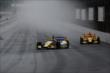 Marco Andretti and Ryan Hunter-Reay head into turn 1 at IMS -- Photo by: Bret Kelley
