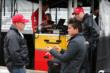 Al Unser Jr. speaks with Sebastian Saavedra prior to practice -- Photo by: Chris Jones
