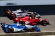 IndyCar running Three-Wide at IMS -- Photo by: Bret Kelley