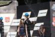 Helio Castroneves celebrates his podium at IMS -- Photo by: Chris Jones