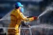 Ryan Hunter-Reay celebrates with champagne -- Photo by: Eric Anderson