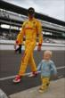 Ryan Hunter-Reay with his son in pit lane at IMS -- Photo by: Chris Jones