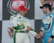 Ed Carpenter speaks with James Hinchcliffe after winning Pole -- Photo by: Jim Haines