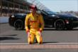 Ryan Hunter-Reay celebrates his victory in the Indianapolis 500 -- Photo by: Chris Jones