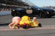 Ryan Hunter-Reay kisses the bricks -- Photo by: Chris Jones