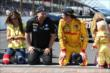 Michael Andretti and Ryan Hunter-Reay before kissing the bricks -- Photo by: Chris Jones