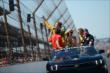 Ryan Hunter-Reay takes his victory lap -- Photo by: Chris Owens