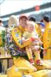 Ryan Hunter-Reay celebrates after the Indianapolis 500 -- Photo by: Chris Owens