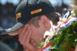 Ryan Hunter-Reay celebrates his victory in Indianapolis -- Photo by: Dana Garrett