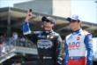 Alex Tagliani and Takuma Sato during driver introductions for the Indianapolis 500 -- Photo by: Jim Haines