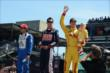 Ryan Hunter-Reay, Graham Rahal and Carlos Huertas during driver introductions for the Indianapolis 500 -- Photo by: Jim Haines