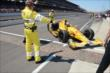 Ryan Hunter-Reay pulls into victory circle -- Photo by: Jim Haines