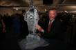 Johnny Rutherford with a Borg-Warner Trophy ice sculpture at the 2014 Indianapolis 500 Victory Banquet -- Photo by: Chris Jones