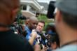 Indianapolis Colts wide receiver Reggie Wayne is interviewed after arriving to the 2014 Indianapolis Colts Training Camp in an IndyCar Two-Seater -- Photo by: Brian Simpson
