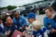 Ed Carpenter is interviewed after chauffeuring Indianapolis Colts wide receiver Reggie Wayne to the Colts Training Camp in Anderson, Indiana -- Photo by: Brian Simpson