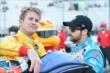 Teammates Ryan Hunter-Reay and James Hinchcliffe chat prior to qualifications for the ABC Supply Wisconsin 250 from the Milwaukee Mile -- Photo by: Chris Owens