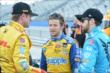 Teammates Ryan Hunter-Reay, Marco Andretti, and James Hinchcliffe chat prior to qualifications for the ABC Supply Wisconsin 250 from the Milwaukee Mile -- Photo by: Chris Owens