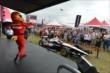 The Firestone Firehawk tosses out t-shirts to the crowd in the INDYCAR Fan Village at Milwaukee -- Photo by: Chris Owens