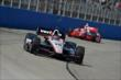 Will Power leads Tony Kanaan into Turn 1 during the ABC Supply Wisconsin 250 at the Milwaukee Mile -- Photo by: Chris Owens
