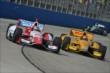 Justin Wilson and Ryan Hunter-Reay barrel into Turn 1 during the ABC Supply Wisconsin 250 at the Milwaukee Mile -- Photo by: Chris Owens