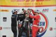 Will Power, Juan Pablo Montoya, and Tony Kanaan celebrate in Victory Circle after the ABC Supply Wisconsin 250 at the Milwaukee Mile -- Photo by: Chris Owens