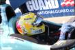 Graham Rahal shows off the his new helmet prior to the morning warmup for the GoPro Grand Prix of Sonoma at Sonoma Raceway -- Photo by: Chris Jones