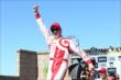 Scott Dixon celebrates winning the GoPro Grand Prix of Sonoma -- Photo by: Chris Jones