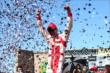 The confetti flies as Scott Dixon celebrates winning the GoPro Grand Prix of Sonoma at Sonoma Raceway -- Photo by: Chris Jones