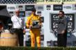 Ryan Hunter-Reay accepts his 2nd Place trophy in the GoPro Grand Prix of Sonoma at Sonoma Raceway -- Photo by: Chris Jones