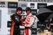 Simon Pagenaud congratulates Scott Dixon in Victory Circle after the GoPro Grand Prix of Sonoma at Sonoma Raceway -- Photo by: Chris Jones