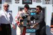 Scott Dixon accepts his Winners Trophy in Victory Circle after winning the GoPro Grand Prix of Sonoma at Sonoma Raceway -- Photo by: Chris Jones