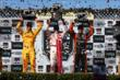 The podium of Scott Dixon, Ryan Hunter-Reay, and Simon Pagenaud hoist their trophies after the GoPro Grand Prix of Sonoma at Sonoma Raceway -- Photo by: Chris Jones