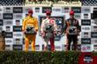 The podium of Scott Dixon, Ryan Hunter-Reay, and Simon Pagenaud with their trophies after the GoPro Grand Prix of Sonoma at Sonoma Raceway -- Photo by: Chris Jones