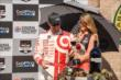 Scott Dixon with the celebratory glass of wine in Victory Circle after winning the GoPro Grand Prix of Sonoma at Sonoma Raceway -- Photo by: John Cote