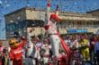 The confetti flies as Scott Dixon celebrates winning the GoPro Grand Prix of Sonoma at Sonoma Raceway -- Photo by: John Cote